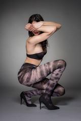 Stylish shot of woman in fashion tights
