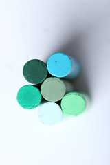 cool tone colorful chalk pastels on white background
