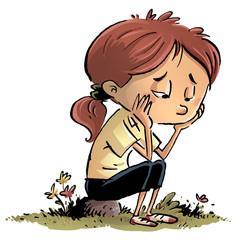 niña aburrida y triste