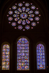 Stained-glass windows in Cathedral of Our Lady of Chartres