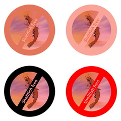 Stickers for shellfish free products