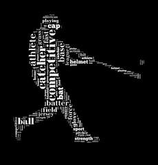 Baseball batter hits the ball, white letters on black background