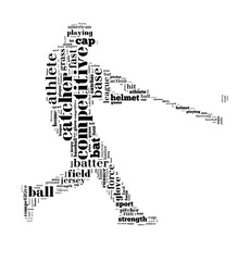 Baseball batter hits the ball, black letters on white background