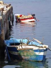 Small fishing boats on a Pier in North Tunisia, Cap Bon.
