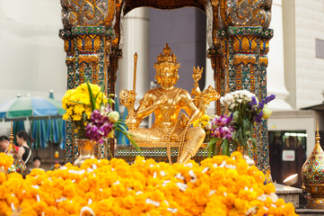 The Golden four-faced Brahma (Phra Phrom) in Thailand.
