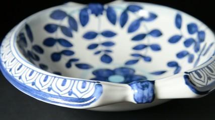 Rotating Ceramic Masonic Tray With Acacia
