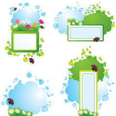 Set of summer backgrounds and frames with grass, flowers and lad