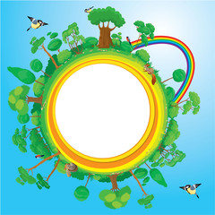 Globe with green trees, birds, animals, rainbow - eco concept