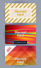 Discount cards set. Abstract background.