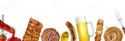 Leinwandbild Motiv grilled meat background