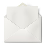 White opened envelope with sheet of paper inside isolated