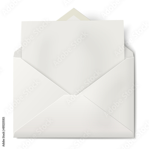 White opened envelope with sheet of paper inside isolated - 81020583