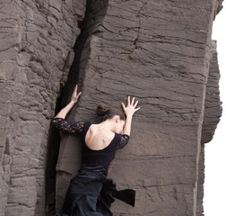 Flameco dancer in a basalt ravine
