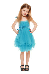 Full length a adorable little girl in blue dress, isolated
