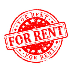 Damaged round red stamp with the word - for rent - vector
