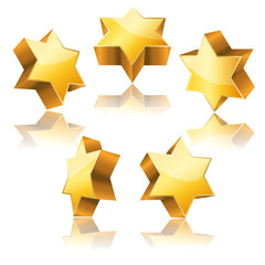 metallic 3d golden star of David with reflection set