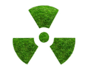 Nuclear symbol from a green grass isolated