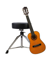 Guitar Against Music Stool, Isolated