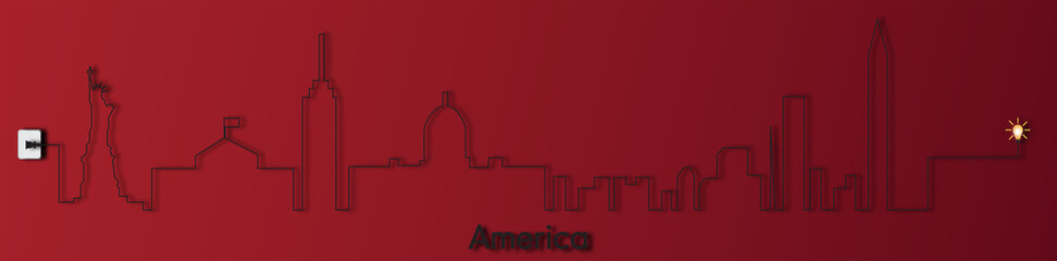 America with socket,electricity,illustration