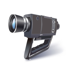 vinteage video camera illustration on white