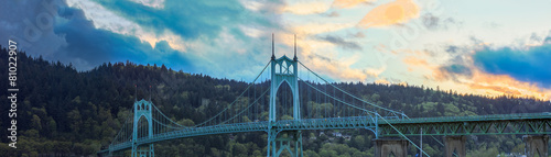 Staande foto Brug St. John's Bridge in Portland Oregon, USA