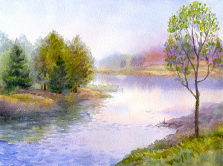 Watercolor landscape. Tree on the bank of river