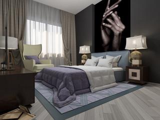 3d illustration bedroom art deco in violet tones