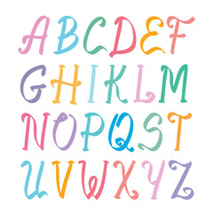 elegant marker alphabet set on white
