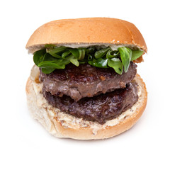 Kangaroo meat burger isolated on a white background.
