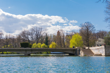 Sunny day in a park in Bucharest, Romania