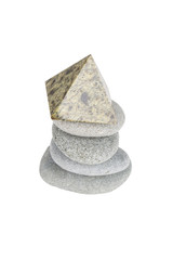 Stack of gray stones is isolated on a white background