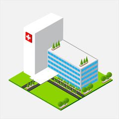 Isometric medium Hospital healty and medical center
