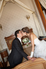 Newly married couple in hotel room, romance wedding night
