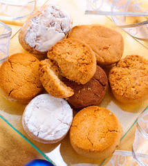shortcakes with christmas ornaments, on tray
