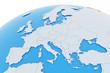 Leinwanddruck Bild - Erde Europa Länder - hellgrau blau