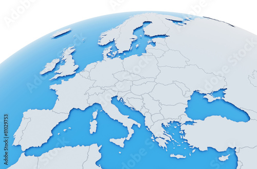Leinwandbild Motiv Erde Europa Länder - hellgrau blau