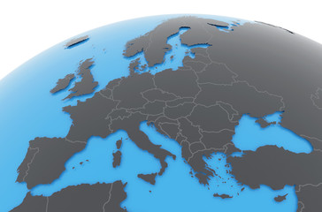 Erde Europa Länder - dunkelgrau blau
