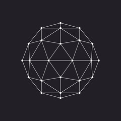 Geometrical sphere, line design, vector