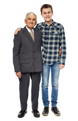 Happy grandfather and grandson