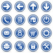 blue glossy web icons set