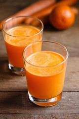 Fresh carrot and orange juice