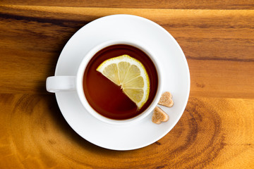 Herbal tea with lemon from above