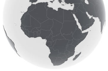 Erde Afrika Länder - dunkelgrau hellgrau