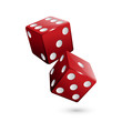 Shiny red dices on the white background - Vector illustration - 81031134