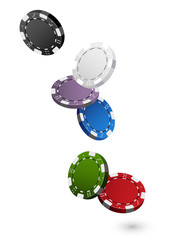 Falling colorful Casino Chips Isolated on White