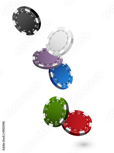 Falling colorful Casino Chips Isolated on White - 81031146