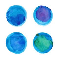 Set of watercolor blue circles