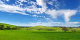 Colline verdi con nuvole nel cielo azzurro