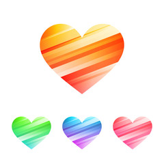 Colored hearts icon set