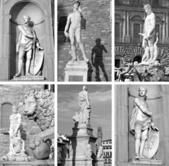 famous sculptures on Piazza Signoria,Santa Croce,Uffizi